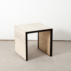 Douglas fir and steel side table