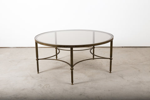 Rare vintage brass table with tinted glass top , French 1950s