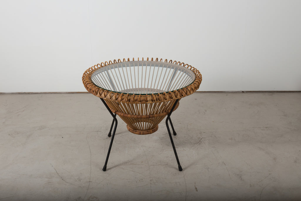 VINTAGE 0005 - Mid century Franco Albini round wicker and glass coffee table