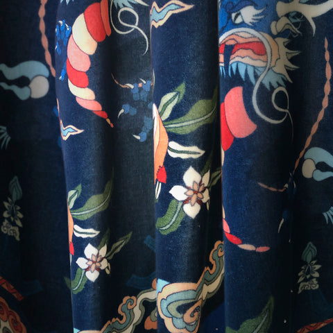 VELVET FABRIC - CANTON DYNASTY BLUE
