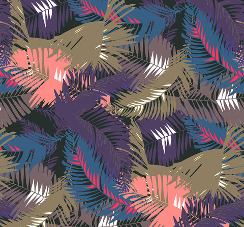 WALLPAPER - TUNKUN PALM TROPICAL PURPLE - LARGE FORMAT