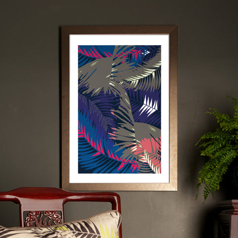 TUNKUN PALM UNFRAMED A2 PRINT TROPICAL PURPLE