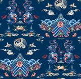 Wallpaper Sample Canton Dynasty Blue