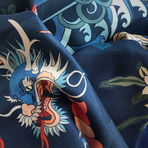 FASHION SILK FABRIC - CANTON DYNASTY BLUE