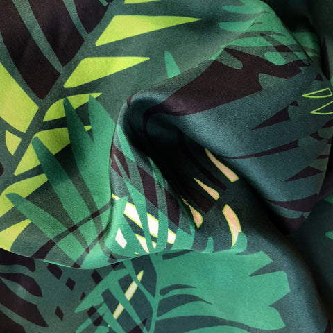 FASHION SILK FABRIC - TUNKUN PALM VERDUROUS