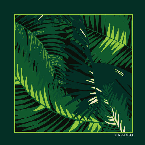 Silk Pocket Square - Tunkun Palm Verdurous Green