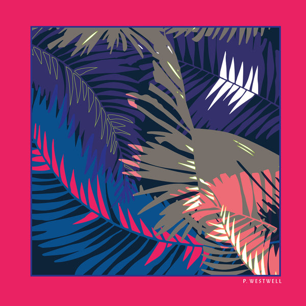 Silk Pocket Square - Tunkun Palm Tropical Purple