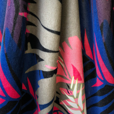 VELVET FABRIC - TUNKUN PALM TROPICAL