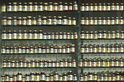 Supplements on shelves