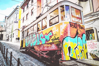 Tram with graffiti