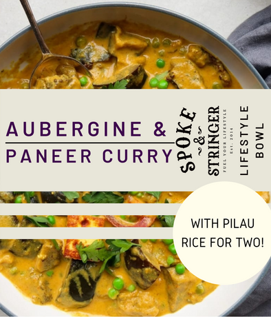 Aubergine & Paneer Curry with Spiced Pilau Rice (Vegetarian, Gluten-Free) - Serves 2