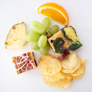 Frittata, Crisps, Fruit, Cake Bite