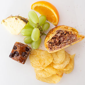 Sausage Roll, Crisps, Fruit, Cake Bite
