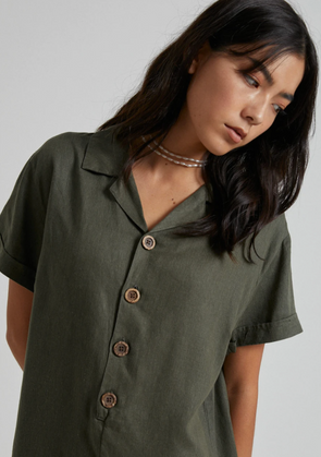 Afends - Kokomo Hemp Playsuit - Military Green