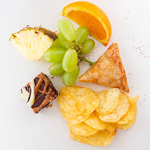 Vegan: Samosa, Crisps, Fruit, Cake Bite