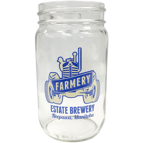 Farmery Tractor Mason Jar Glass