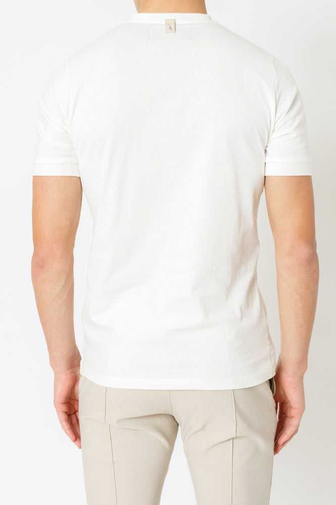 White and Beige Signature Logo Print Slim Fit T-shirt - P r é v u . S t u d i o .