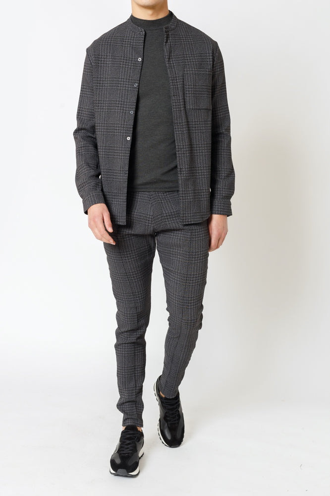 Grey Parson Puppytooth Check Slim Fit Trousers - P r é v u . S t u d i o .