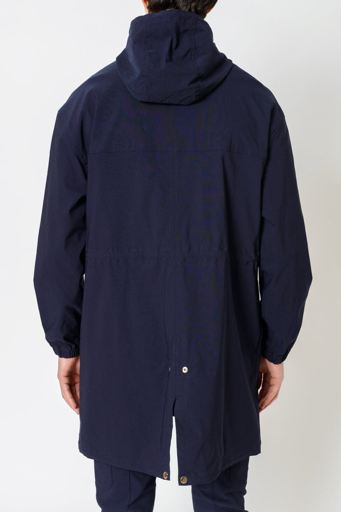 Navy Salvatore Hooded Parka Jacket - P r é v u . S t u d i o .