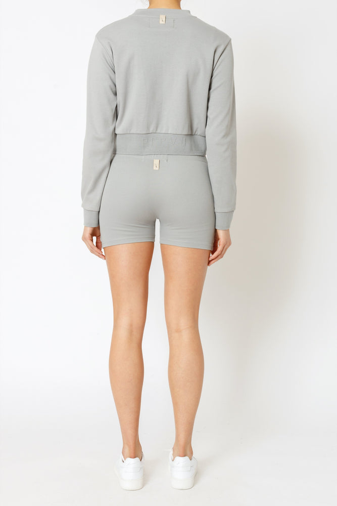 Women's Light Grey Signature Logo Cycling Shorts - P r é v u . S t u d i o .