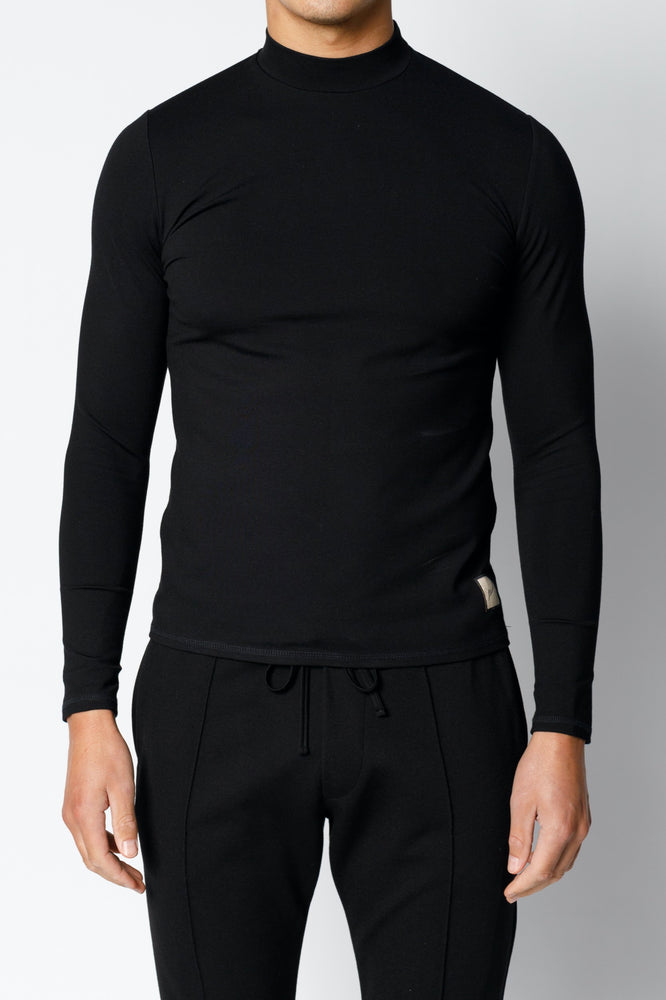 Black Belmont Turtle Neck Long Sleeve Top - P r é v u . S t u d i o .