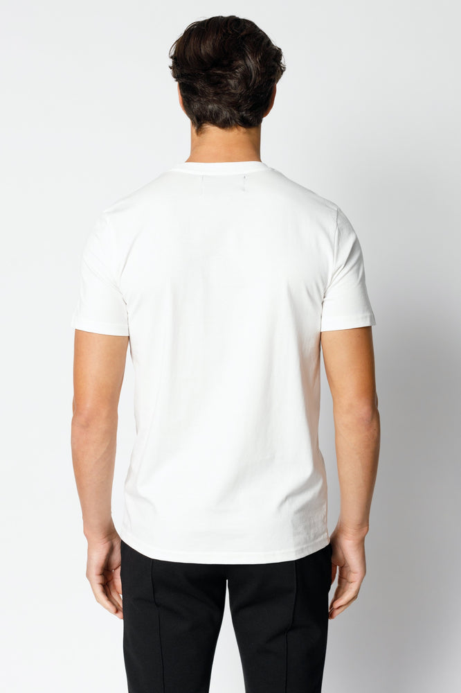 Load image into Gallery viewer, White Signature Logo Print Slim Fit T-shirt - P r é v u . S t u d i o .
