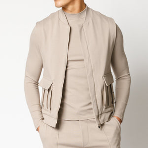 Load image into Gallery viewer, Beige Belmont Slim Fit Gilet - P r é v u . S t u d i o .