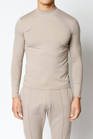 Load image into Gallery viewer, Beige Belmont Turtle Neck Long Sleeve Top - P r é v u . S t u d i o .