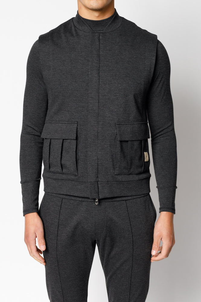 Load image into Gallery viewer, Charcoal Grey Belmont Slim Fit Gilet - P r é v u . S t u d i o .