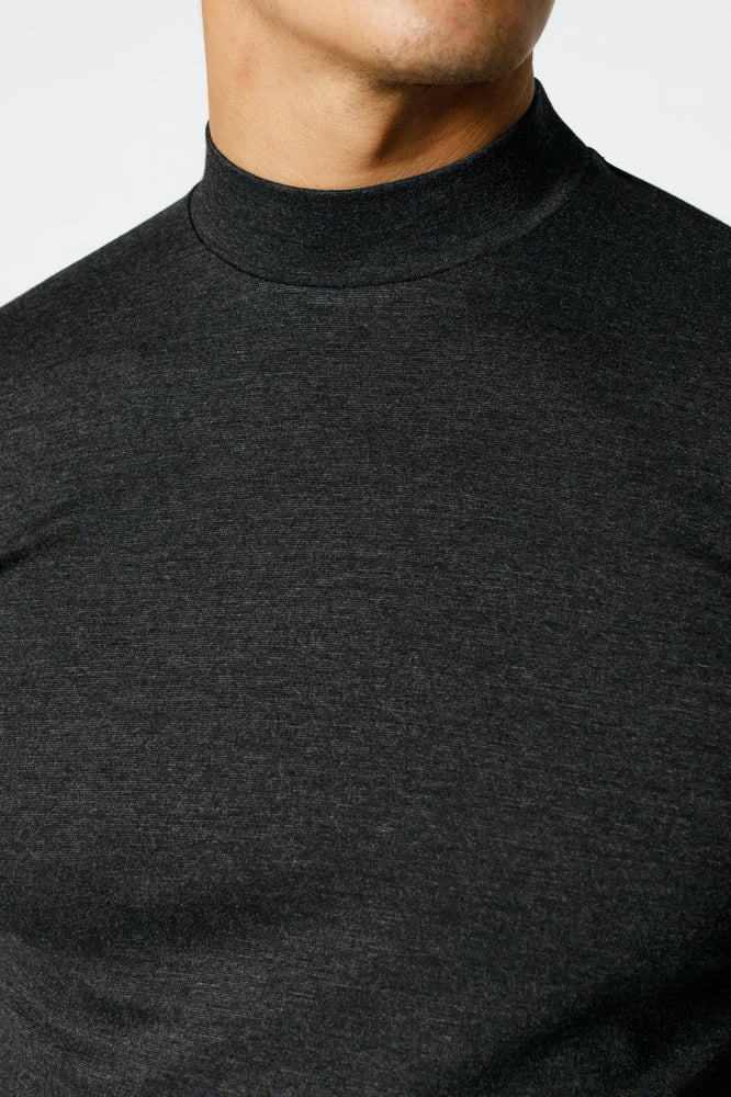 Charcoal Grey Belmont Turtle Neck Long Sleeve Top - P r é v u . S t u d i o .