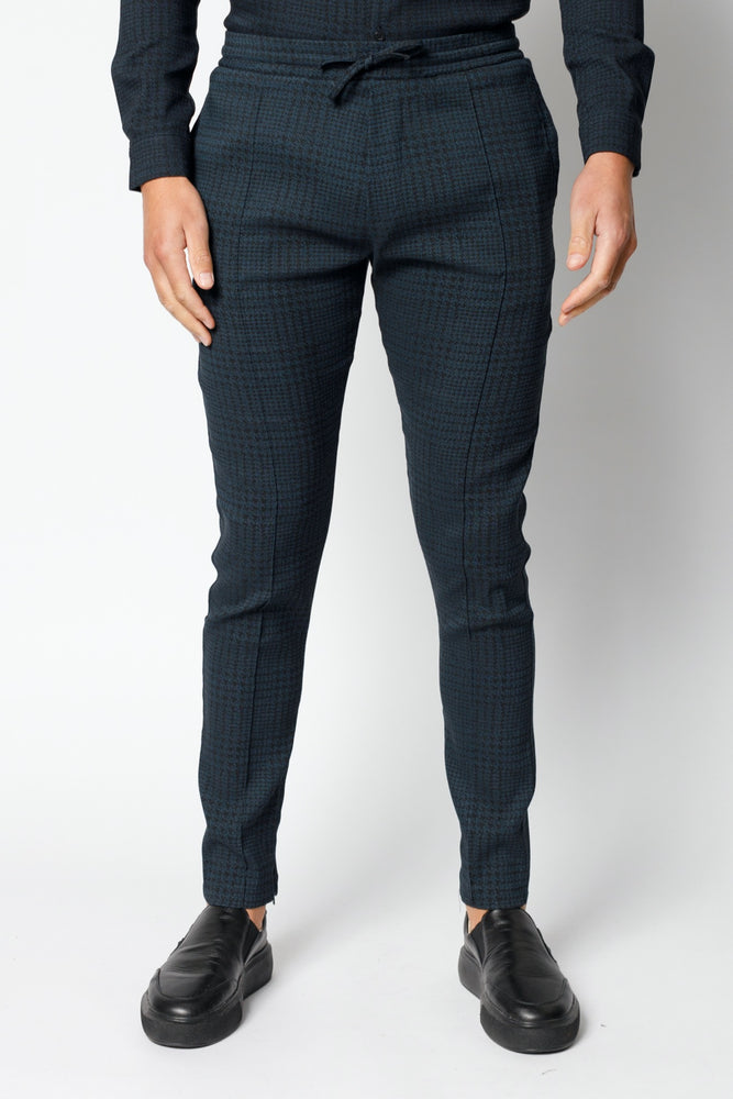 Navy Parson Puppytooth Check Slim Fit Trousers - P r é v u . S t u d i o .