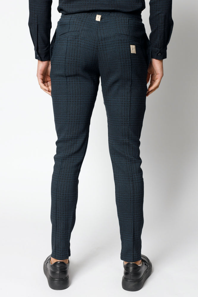 Load image into Gallery viewer, Navy Parson Puppytooth Check Slim Fit Trousers - P r é v u . S t u d i o .
