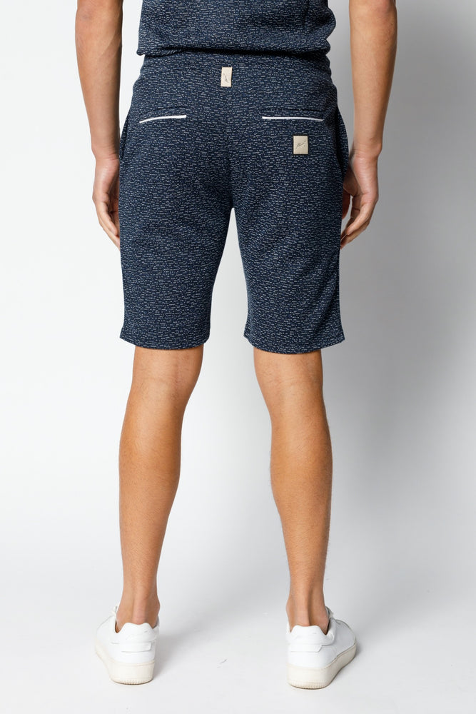 Load image into Gallery viewer, Navy Albion Fleck Shorts - P r é v u . S t u d i o .