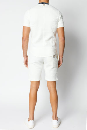 Load image into Gallery viewer, Ecru and Navy Solander Shorts - P r é v u . S t u d i o .