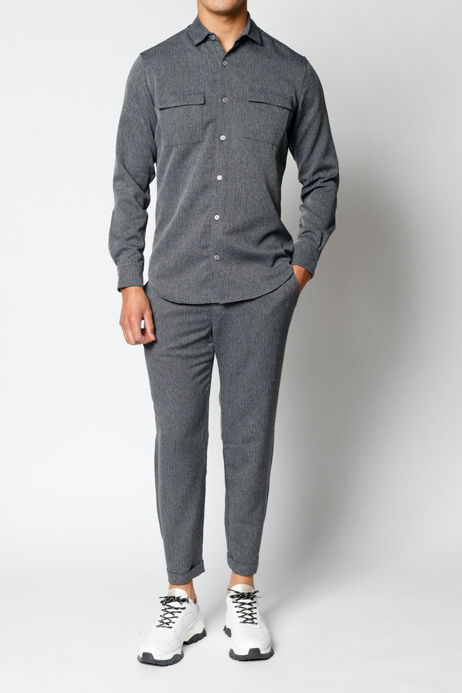Grey Lorio Herringbone Loose Fit Trousers - P r é v u . S t u d i o .