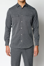 Grey Lorio Herringbone Regular Fit Shirt - P r é v u . S t u d i o .