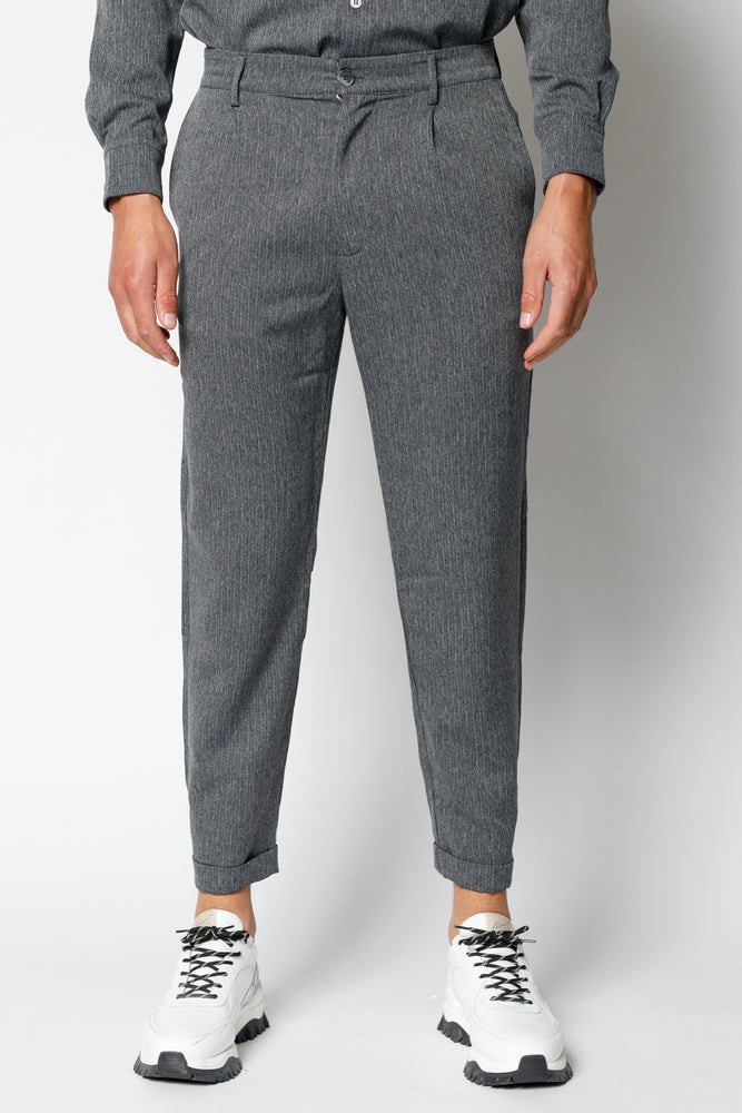 Load image into Gallery viewer, Grey Lorio Herringbone Loose Fit Trousers - P r é v u . S t u d i o .