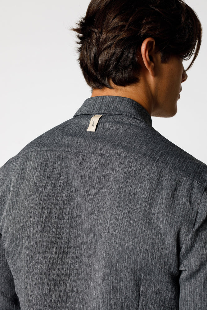 Load image into Gallery viewer, Grey Lorio Herringbone Regular Fit Shirt - P r é v u . S t u d i o .