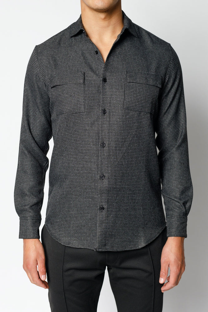 Charcoal Grey Nave Check Regular Fit Shirt - P r é v u . S t u d i o .