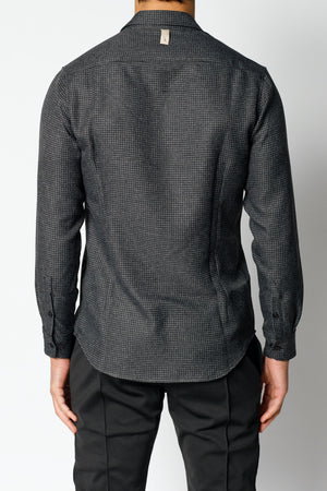 Load image into Gallery viewer, Charcoal Grey Nave Check Regular Fit Shirt - P r é v u . S t u d i o .