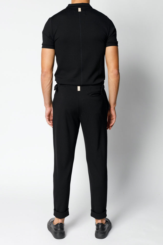 Black Aruba Tailored Slim Fit Trousers - P r é v u . S t u d i o .