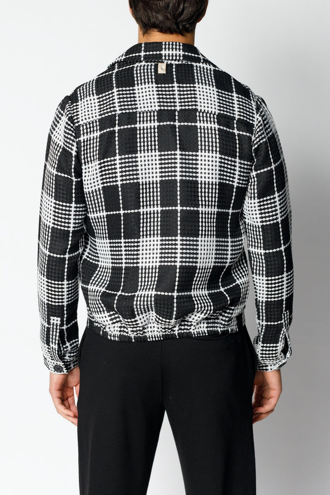 Load image into Gallery viewer, Black Vada Window Check Trucker Jacket - P r é v u . S t u d i o .