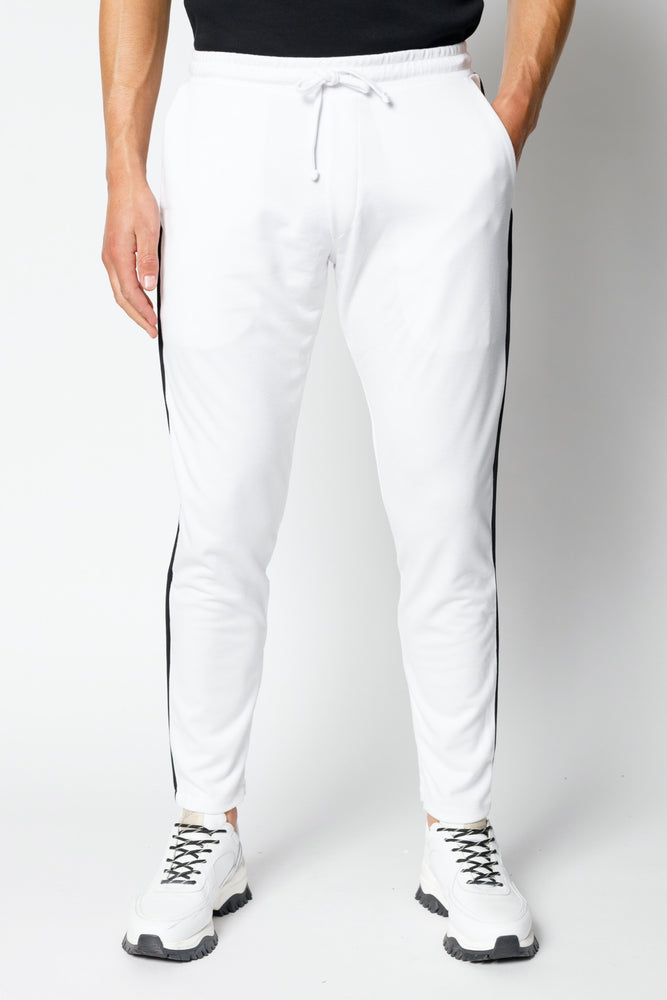 White Houston Contrast Piping Slim Fit Jogger - P r é v u . S t u d i o .