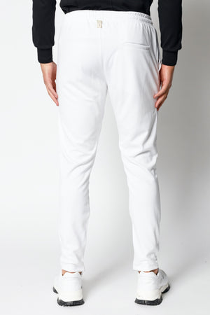 Load image into Gallery viewer, White Arthur Avenue Stripe Slim Fit Joggers - P r é v u . S t u d i o .