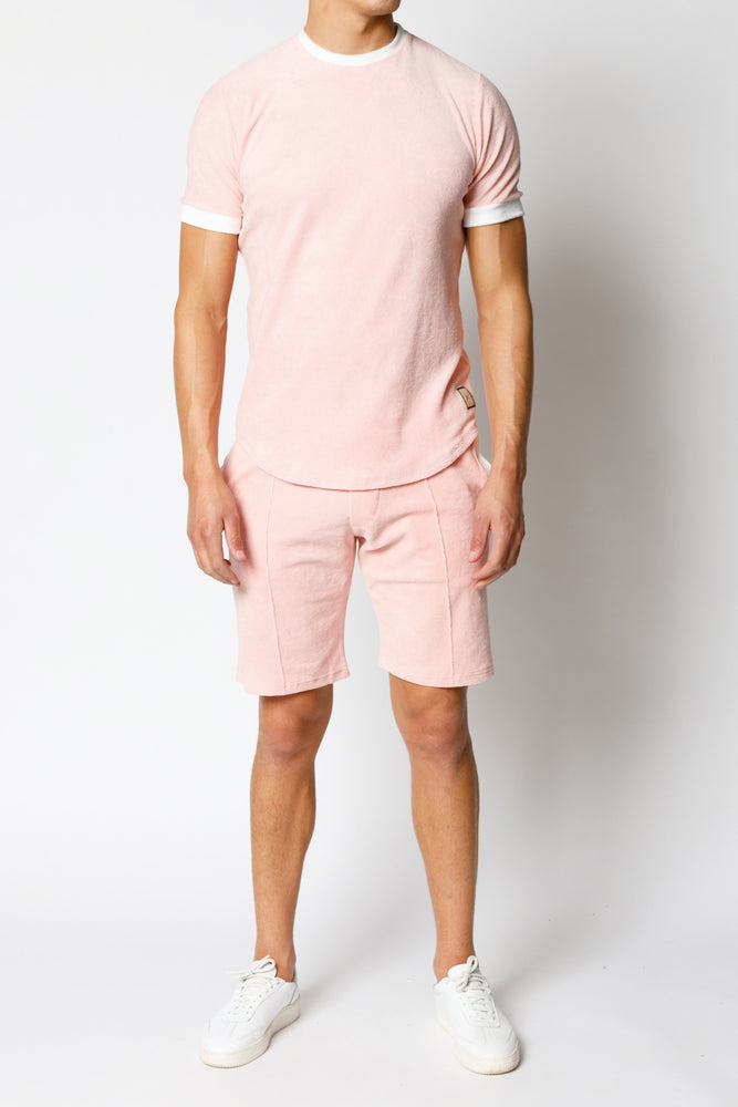 Load image into Gallery viewer, Pink Delos Towelling Slim Fit T-shirt - P r é v u . S t u d i o .