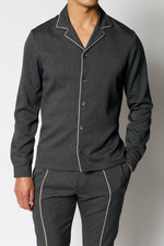 Charcoal Grey Gratan Revere Collar Slim Fit Shirt - P r é v u . S t u d i o .