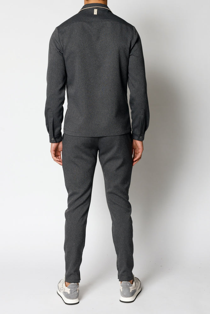 Charcoal Grey Gratan Slim Fit Trousers - P r é v u . S t u d i o .
