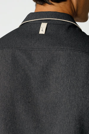 Load image into Gallery viewer, Charcoal Grey Gratan Revere Collar Slim Fit Shirt - P r é v u . S t u d i o .