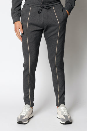 Load image into Gallery viewer, Charcoal Grey Gratan Slim Fit Trousers - P r é v u . S t u d i o .