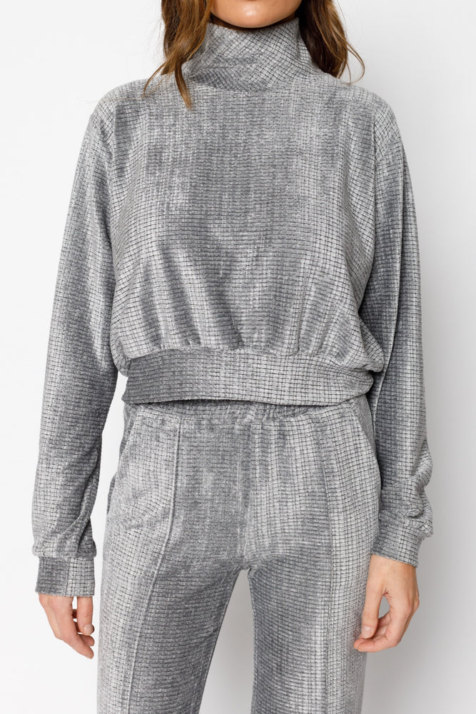 Women's Grey Sondrio Chenille High Neck Regular Fit Sweatshirt - P r é v u . S t u d i o .